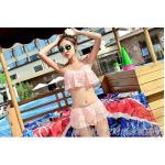 ชุดว่ายน้ำ บิกินี่ ทูพีช แบบลูกไม้ Pink Size M