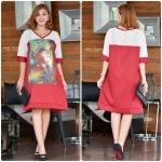 "รหัสNR512 **สีแดง** รอบอก 44"" Love in Paradise Printed with Premium Polyester Dress"