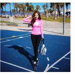 ชุดว่ายน้ำ ขายาว เสื้อแขนยาวสีชมพู สกรีนลาย size XL