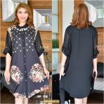"NR735 สีเทา**รอบอก 46"" D&G Colorful Floral Printed With Double Fabrics ShirtDress"
