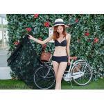 ชุดว่ายน้ำ บิกินี่ ทูพีช บราสายไขว้+ผ้าคลุม สีดำ size XL