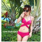 ชุดว่ายน้ำ บิกินี่ ทูพีช บราผูก Pink size XL
