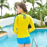 ชุดว่ายน้ำ บิกินี่เซ็ท 3 ชิ้น เสื้อแขนยาว สีเหลือง size L