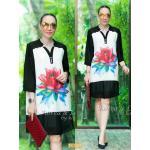 "TK1597""สีขาว ดอกแดง""*รอบอก44"" Zara Dress high quality and chiffon two-tone flower"