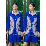 "TK1586""สีน้ำเงิน""*รอบอก46"" Versace chiffon shirt Oversize Korea high quality"