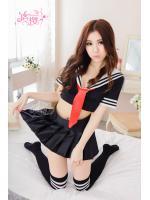 ชุดนักเรียนญี่ปุ่นสีดำปกกะลาสี เอวลอย ผ้าพันคอไทด์สีแดง