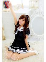 ชุดนักเรียนญี่ปุ่นสีดำ คอปกกะลาสี ผ้ายืด