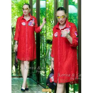 "TK1658**สีแดง**รอบอก46"" D&G Dress Luxury lace embroidery flower"