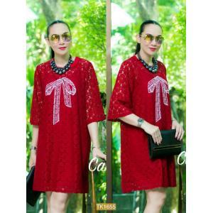 "TK1655**สีแดง**รอบอก46"" Zara dress high quality Lace"