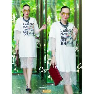 "TK1657**สีขาว**รอบอก44"" Topshop T-shirt long Cotton high quality and lace rabbit cute"