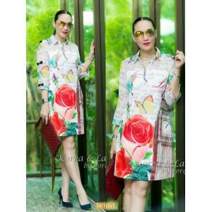"TK1651**สีขาว**รอบอก42"" Prada chiffon and poly dress Korea high quality rose Clock tower"