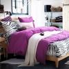 ผ้าปูที่นอน ลายม้าลาย Zebra Bedding สีม่วงเข้ม