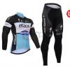 ชุดปั่นจักรยานแขนยาวทีม Etixx Quick Step เสื้อปั่นจักรยานแขนยาว กับ กางเกงปั่นจักรยานขายาว สีดำขาวฟ้า 157
