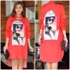 """รหัสNR244 **พร้อมส่ง** รอบอก 44"""" Lady Fashionista Printed Chiffon Silk Long Sleeves ShirtDress สีแดง"""