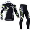 ชุดปั่นจักรยานแขนยาวทีม Cannondale เสื้อปั่นจักรยานแขนยาว กับ กางเกงปั่นจักรยานขายาว สีดำขาวเขียว 177