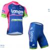 ชุดปั่นจักรยานแขนสั้นทีม LAMPRE เสื้อปั่นจักรยาน กับ กางเกงปั่นจักรยาน สีน้ำเงินชมพู 049