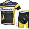 ชุดปั่นจักรยานแขนสั้นทีม Bianchi Lamborghini เสื้อปั่นจักรยาน กับ กางเกงปั่นจักรยาน สีดำเหลือง 134