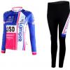 ชุดปั่นจักรยานผู้หญิงแขนยาวทีม LAMPRE เสื้อปั่นจักรยาน กับ กางเกงปั่นจักรยาน สีน้ำเงิน 098