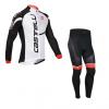 ชุดปั่นจักรยานแขนยาวทีม Castelli เสื้อปั่นจักรยานแขนยาว กับ กางเกงปั่นจักรยานขายาว สีขาวดำ 173