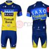 ชุดปั่นจักรยานแขนสั้นทีม Saxo Bank Tink Off เสื้อปั่นจักรยาน กับ กางเกงปั่นจักรยาน สีเหลืองน้ำเงิน 161
