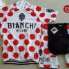 ชุดปั่นจักรยานแขนสั้นทีม Bianchi Milano เสื้อปั่นจักรยาน กับ กางเกงปั่นจักรยาน สีขาวแดง 140