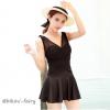 ุชุดว่ายน้ำวันพีช แบบกระโปรง คอวี โชว์หลัง สีดำ