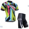 ชุดปั่นจักรยานแขนสั้นทีม FOX เสื้อปั่นจักรยาน กับ กางเกงปั่นจักรยาน สีลายสีสัน 046