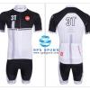 ชุดปั่นจักรยานแขนสั้นทีม Castelli 3T เสื้อปั่นจักรยาน กับ กางเกงปั่นจักรยาน สีขาวดำ 006