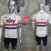 ชุดปั่นจักรยานแขนสั้นทีม SKY 2016 เสื้อปั่นจักรยาน กับ กางเกงปั่นจักรยานเอี๊ยม สีขาว 302