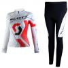 ชุดปั่นจักรยานผู้หญิงแขนยาวทีม SCOTT เสื้อปั่นจักรยาน กับ กางเกงปั่นจักรยาน สีขาว 122