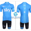 ชุดปั่นจักรยานแขนสั้นทีม SKY เสื้อปั่นจักรยาน กับ กางเกงปั่นจักรยาน สีฟ้าขาว 007