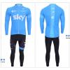 ชุดปั่นจักรยานแขนยาวทีม SKY เสื้อปั่นจักรยานแขนยาว กับ กางเกงปั่นจักรยานขายาว สีฟ้าดำ 030