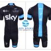 ชุดปั่นจักรยานแขนสั้นทีม SKY เสื้อปั่นจักรยาน กับ กางเกงปั่นจักรยาน สีดำฟ้า 008