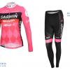 ชุดปั่นจักรยานผู้หญิงแขนยาวทีม GARMIN เสื้อปั่นจักรยานผู้หญิงแขนยาว กับ กางเกงปั่นจักรยานผู้หญิงขายาว สีชมพู 058