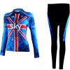 ชุดปั่นจักรยานผู้หญิงแขนยาวทีม SKY เสื้อปั่นจักรยาน กับ กางเกงปั่นจักรยาน สีน้ำเงินเ 124
