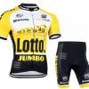 ชุดปั่นจักรยานแขนสั้นทีม Lotto Jumbo เสื้อปั่นจักรยาน กับ กางเกงปั่นจักรยาน สีดำเหลือง 138