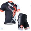 ชุดปั่นจักรยานแขนสั้นทีม Castelli เสื้อปั่นจักรยาน กับ กางเกงปั่นจักรยาน สีดำขาว 050