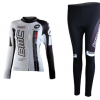 ชุดปั่นจักรยานผู้หญิงแขนยาวทีม BMC เสื้อปั่นจักรยาน กับ กางเกงปั่นจักรยาน สีขาว 121