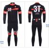 ชุดปั่นจักรยานแขนยาวทีม Castelli 3T เสื้อปั่นจักรยานแขนยาว กับ กางเกงปั่นจักรยานขายาว สีดำแดง 027
