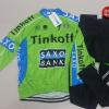 ชุดปั่นจักรยานแขนยาวทีม Saxo Bank Tink Off 2015 เสื้อปั่นจักรยานแขนยาว กับ กางเกงปั่นจักรยานขายาว สีเขียว 163