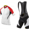 ชุดปั่นจักรยานแขนสั้นทีม เสื้อปั่นจักรยาน กับ กางเกงปั่นจักรยานเอี๊ยม สีขาวแดง 218