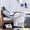 ผ้าปูที่นอน ลายตาราง สก๊อต สีเทา-ขาว