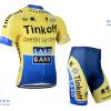ชุดปั่นจักรยานแขนสั้นทีม Saxo Bank Tink Off เสื้อปั่นจักรยาน กับ กางเกงปั่นจักรยาน สีเหลือง 042