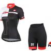 ชุดปั่นจักรยานผู้หญิงแขนสั้นทีม Castelli 3T เสื้อปั่นจักรยาน กับ กางเกงปั่นจักรยาน สีดำแดง 085