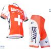 ชุดปั่นจักรยานแขนสั้นทีม BMC เสื้อปั่นจักรยาน กับ กางเกงปั่นจักรยาน สีแดงขาว 047