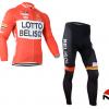 ชุดปั่นจักรยานแขนยาวทีม LOTTO Belisol เสื้อปั่นจักรยานแขนยาว กับ กางเกงปั่นจักรยานขายาว สีแดง 094