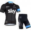 ชุดปั่นจักรยานแขนสั้นทีม SKY 2015 เสื้อปั่นจักรยาน กับ กางเกงปั่นจักรยาน สีดำฟ้า 169