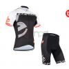 ชุดปั่นจักรยานแขนสั้นทีม Cervelo Castelli เสื้อปั่นจักรยาน กับ กางเกงปั่นจักรยาน สีดำขาวแดง 159
