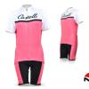 ชุดปั่นจักรยานผู้หญิงแขนสั้นทีม Castelli เสื้อปั่นจักรยาน กับ กางเกงปั่นจักรยาน สีขาวชมพู 099