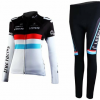 ชุดปั่นจักรยานผู้หญิงแขนยาวทีม TREK LEOPARD เสื้อปั่นจักรยาน กับ กางเกงปั่นจักรยาน สีดำขาว 106